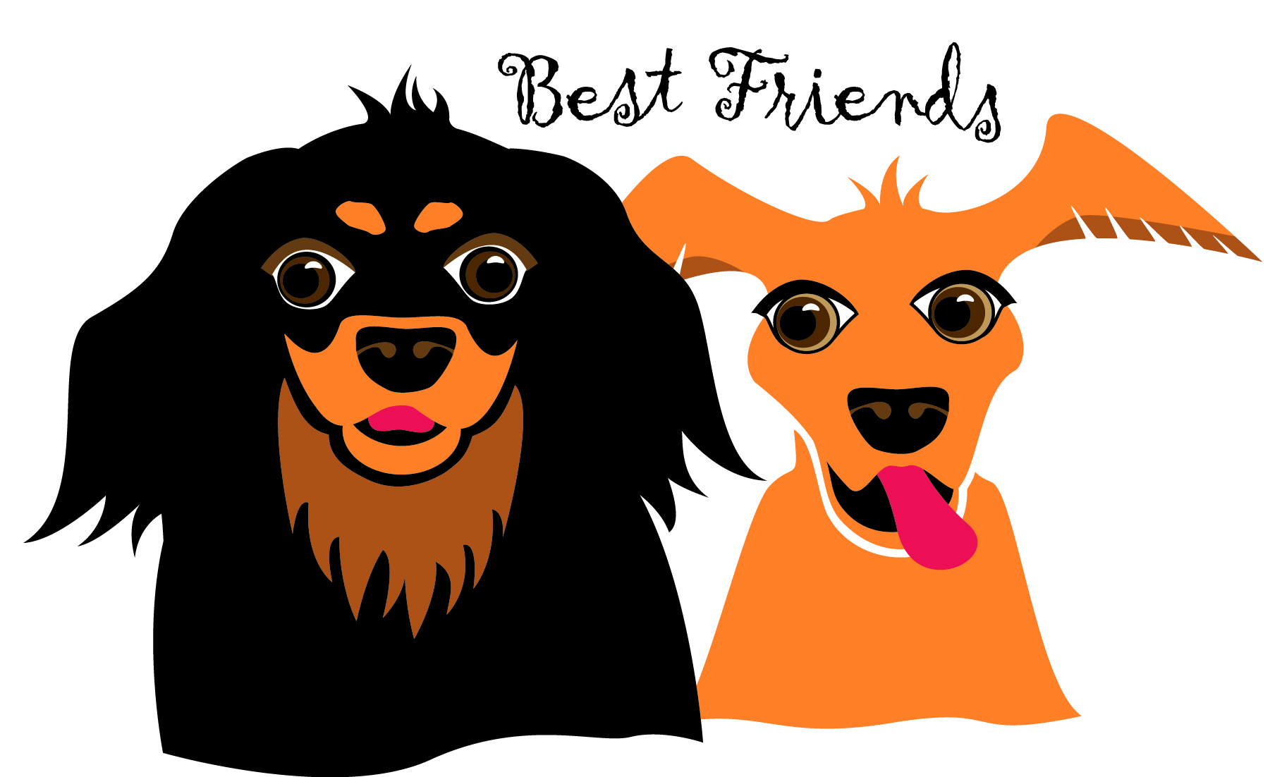 Illustration of two dogs by Marcy Horswill
